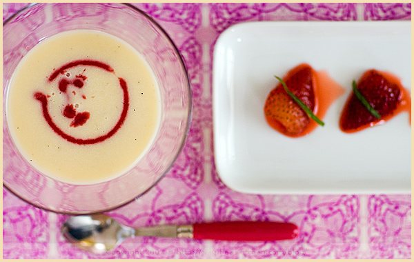 food styling white chocolate soup