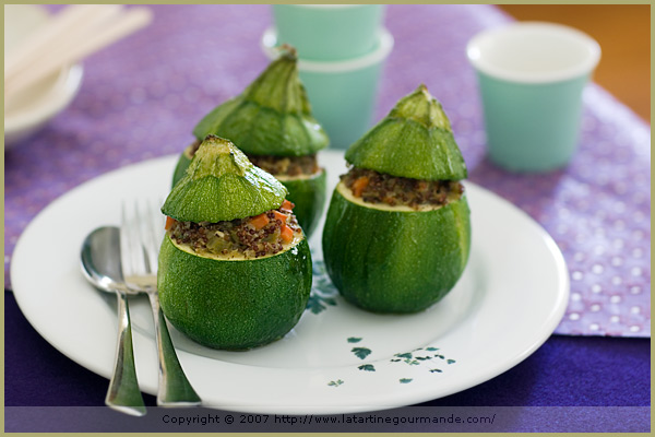 stuffed quinoa eight ball round zucchini