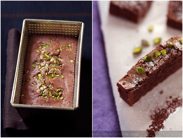 gluten free brownie chocolate pistachio