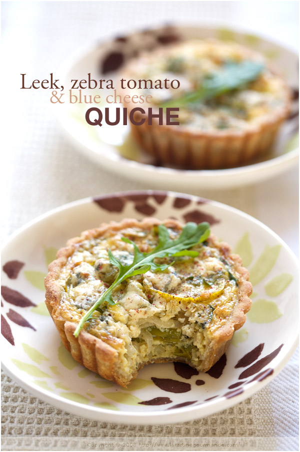 leek blue cheese quiche tomato