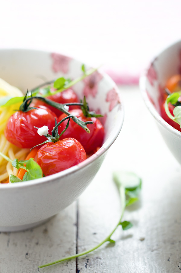 spaghetti gluten free roasted cherry tomatoes